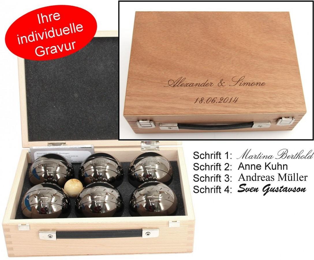 obut k6 6 boule kugeln made in france geschenk idee holzkoffer mit gravur ebay. Black Bedroom Furniture Sets. Home Design Ideas