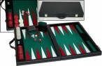 leatherette backgammon case medium - green field