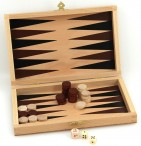 Backgammon-Cassette, beech, printed