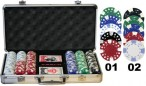 300 2-tone POKER CHIPS Set  inkl. Koffer Alu - Design