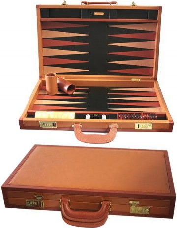 RR Backgammon MILLENIUM, Leder Backgammonkoffer
