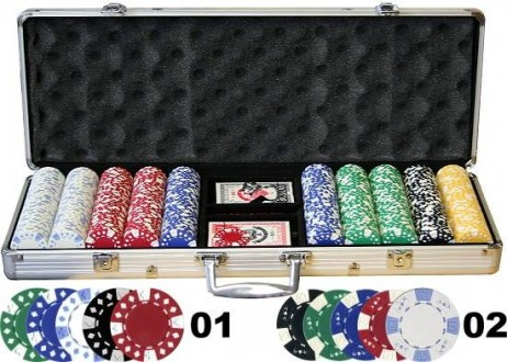 500 2-tone POKER CHIPS Set  incl. Koffer Alu - Design