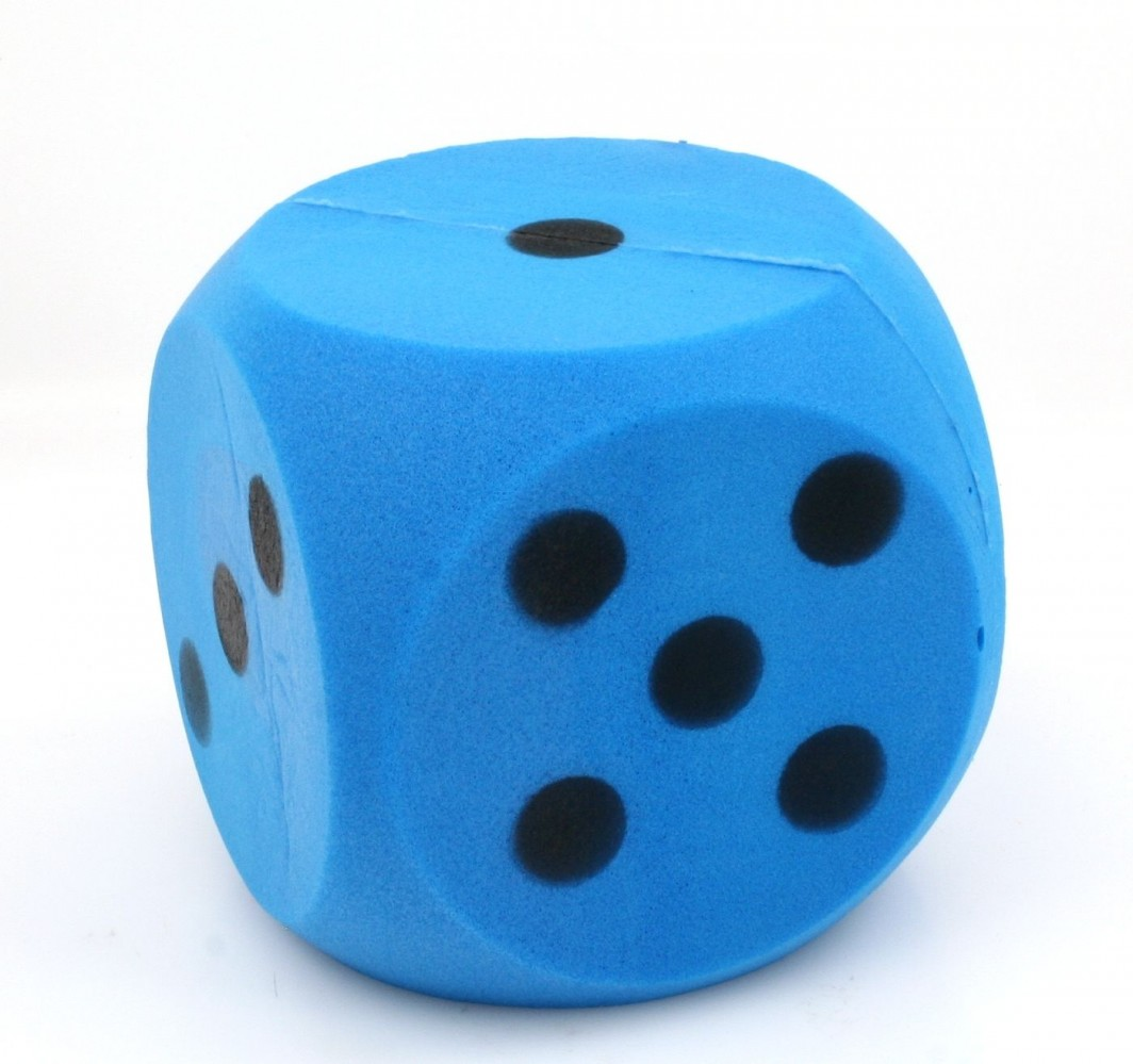 Giant Blue Foam Dice Dice With 15 Cm Edge Classic Games
