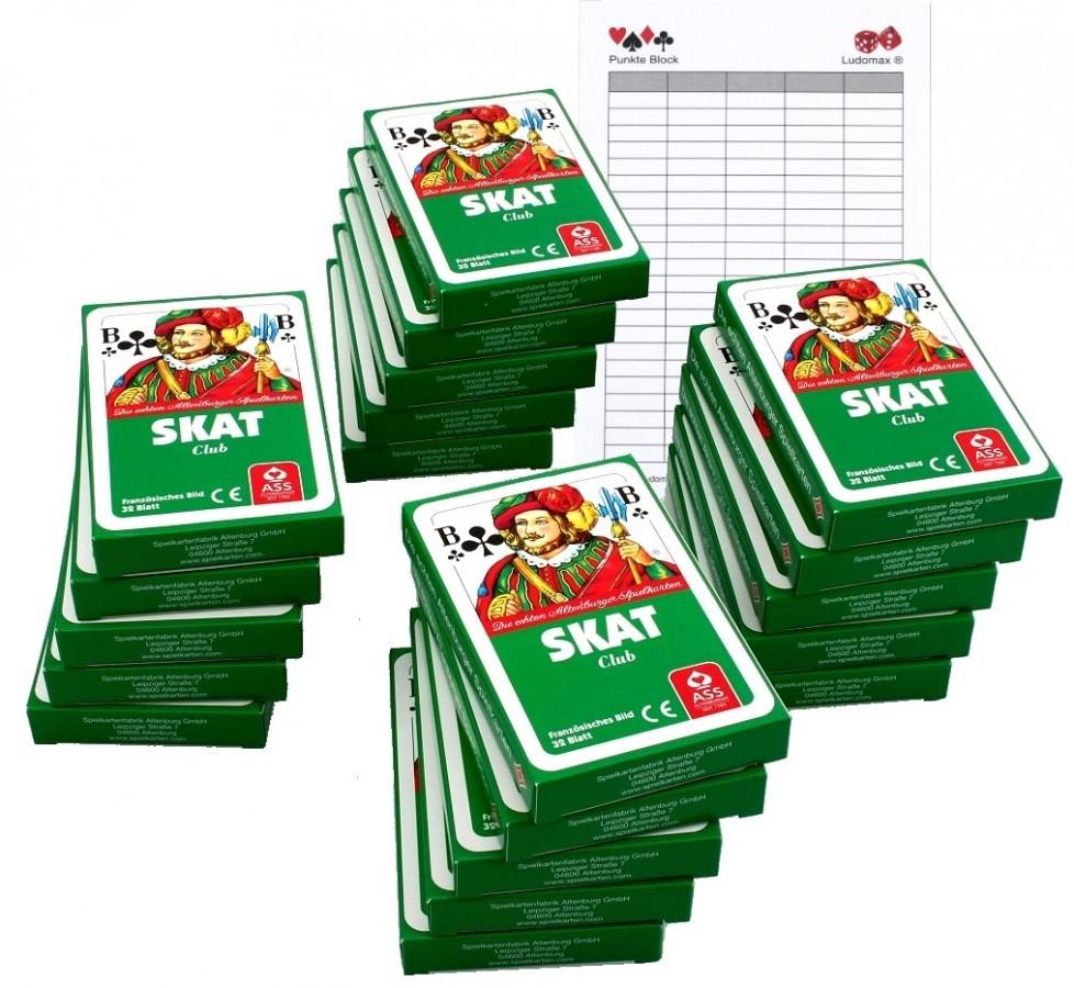 SKAT ASS Club Spielkarten Zwanzigerpaket von ASS im Set mit Ludomax Block Klassische Spiele ...