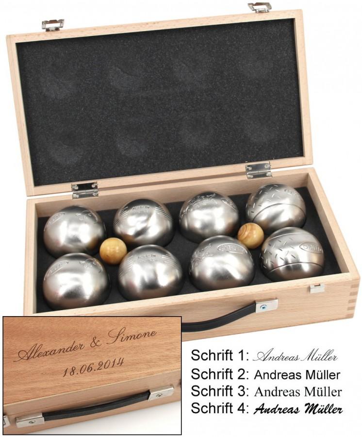 obut k8 8 set boule kugeln im holzkoffer mit gravur ebay. Black Bedroom Furniture Sets. Home Design Ideas