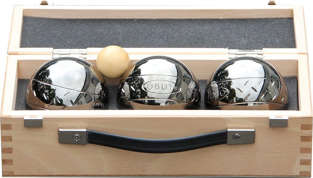 K3 Strip Design, Boule - Kugel Set im Holzkoffer