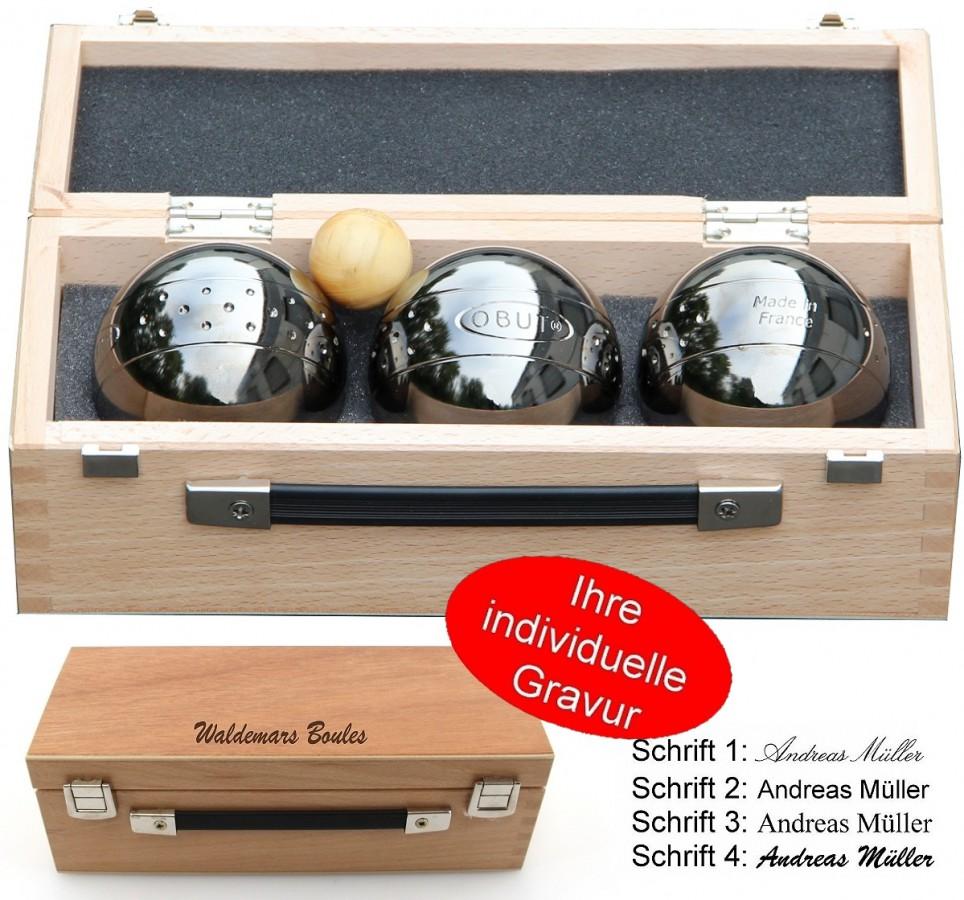OBUT K3 Point Design, Boule - Kugel Set, im Holzkoffer mit individueller Gravur