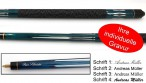 Tycoon, engraved Pool - billiard cue with engraving, idea for gift, blue colour