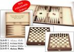 Schach - Backgammon - Dame 10x10 Kassette mit Intarsien mit Gravur, Top Geschenk