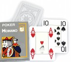 POKER 4J Gray by MODIANO, 100% plastic, 4 Jumbo Index, ohne Rand!