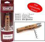Opinel Corkscrew knife, stainless steel blade, for wine fans, incl. Engraving