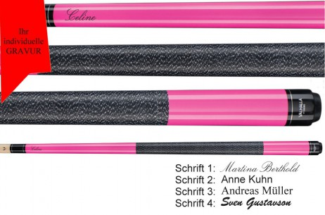 VA116 Ultra Pink opaquePool Billard cue, Valhalla by Viking, with engraving