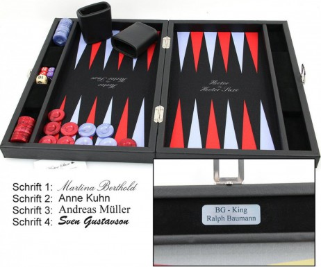 Premium Backgammon Medium Noir, by Hector Saxe Paris, incl. Engraving