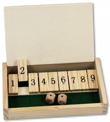 mini shut the box 9 er variante 1 9 w rfel spiel geschenk idee mit gravur klassische. Black Bedroom Furniture Sets. Home Design Ideas
