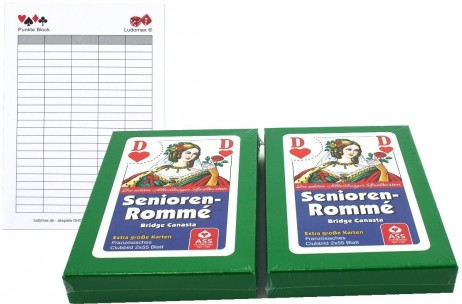 2 pieces Senior Rummy, Canasta, Bridge ASS, playing cards+ Ludomax writing pad