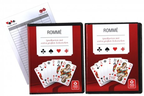 2 pieces of Rummy, Bridge playing cards, extra Large Index + Ludomax writing pad
