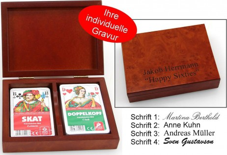 Playing cards wooden box Skat - Doppelkopf, with print, nice gift idea
