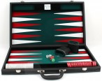 leatherette backgammon case large - green field including engraving