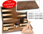 Dal Negro Nuovo Noce, Backgammon made from walnut  with maple inlays, incl. Engraving