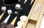 Backgammon Cosmos Gold Medium, Alcantara Mikrofaserstoff, Hector Saxe, Paris Bild 2