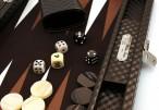 Backgammon Cosmos Brown Medium, Alcantara Mikrofaserstoff, Hector Saxe, Paris Bild 2