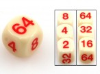 Doubling Cube 16mm, plastic, blond, red numbers