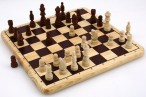 Nice Chess Game on massive wooden board with inlays including wooden figures