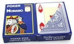 2 pieces of POKER by MODIANO, 100% plastic, 4 Jumbo Index, blue coloured