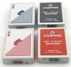Viererpaket Copag Regular Face, 100% Plastic Poker Spielkarten, rot und blau