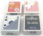 Viererpaket Copag 100% Plastic Poker 4 Corner Jumbo Index Spielkarten rot / blau