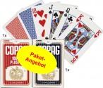 Zweierpaket COPAG 100% Plastic Bridge Spielkarten, je 1x rot und 1x blau