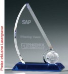 Soccer Sail Award - Crystal glass - trophy
