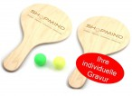 Mini Beachball Set aus Holz mit individueller Logo - Gravur, Made in Italy