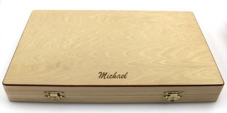 backgammon kassette aus holz 33 x 21 x 4 cm mit gravur geschenk idee geschenke klassische spiele. Black Bedroom Furniture Sets. Home Design Ideas