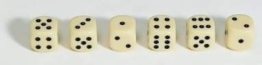 Dice, 18mm, ivory-coulourd