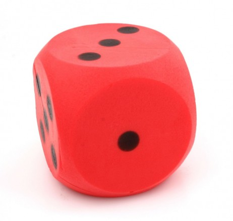 Giant red foam dice, dice with 15 cm edge