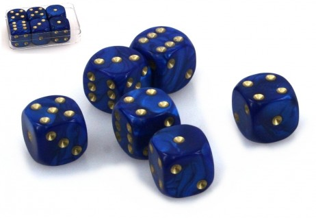 Dice - Set with 6 pieces, 16 mm marbled blue