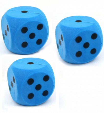 3 piece package of giant blue foam dice, dice with 15 cm edge