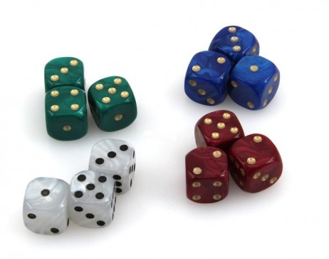 12 pieces Dice - Set 16 mm marbled, 3 pieces of red, green, blue and white
