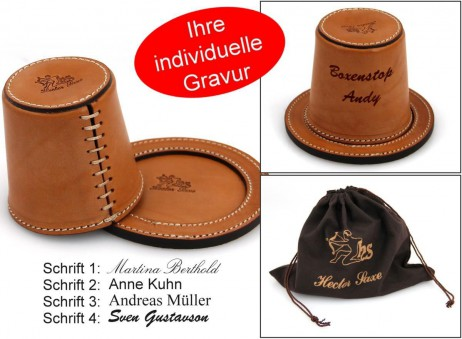 Luxury leather dice cups of Hector Saxe - Paris, exclusive gift with engraving