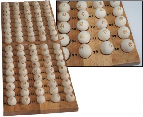 90 lottery / bingo balls made of wood - numbered