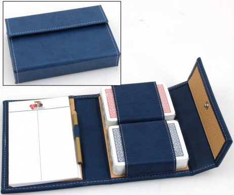 Luxury Playing Cards Etui Modiano Astuccio, blue coloured, with playing cards