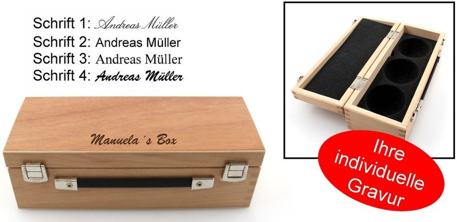 holzkoffer f r 3 boule kugeln mit gravur geschenk idee boule boccia bouletaschen koffer. Black Bedroom Furniture Sets. Home Design Ideas