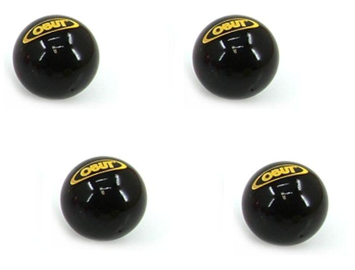 Viererpaket schwarze, gravierte Obut Boule Zielkugeln, Schweinchen, glänzend