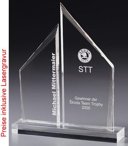 Double Tower Acrylic Glass Trophy Cups Trophy