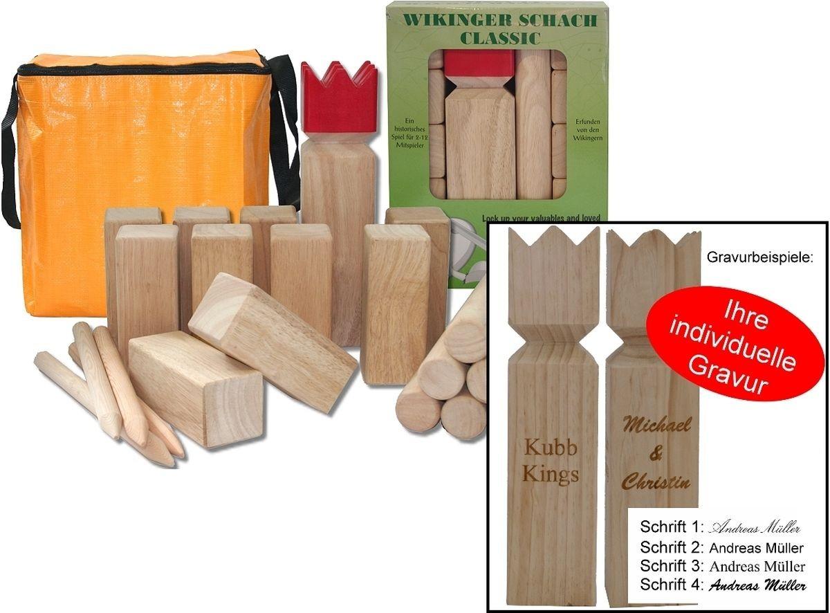 wikinger schach classic mit individueller gravur das original gummibaum kubb geschenke. Black Bedroom Furniture Sets. Home Design Ideas