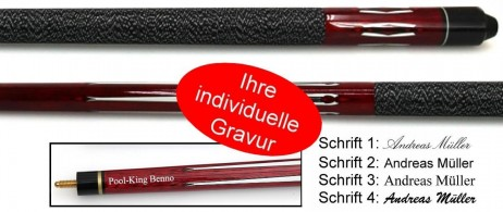 Tycoon, engraved Pool - billiard cue, idea for gift, red coloured