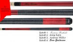 VA114 Red Stain Pool Billard cue, Valhalla by Viking, with engraving