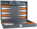 Backgammon CARBONE B21L Anthracite Medium, Alcantara ground, Hector Saxe, Paris Image 4