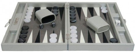 Backgammon CARBONE B21L Gris Medium, Alcantara Spielfeld, Hector Saxe, Paris